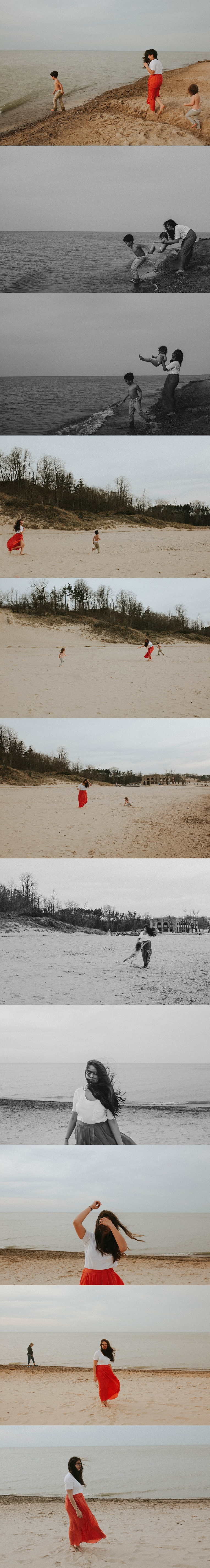 series of photos of mom and kids near the beach in chicago il