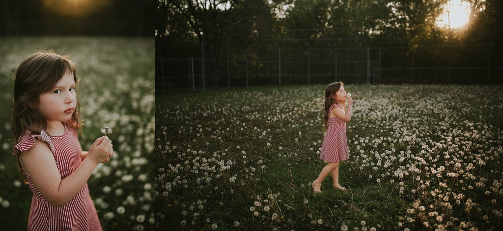 kid in golden light in a dandelion field
