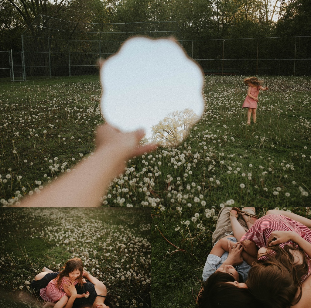 family in a dandelion field