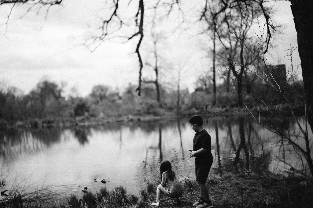 kids near lake