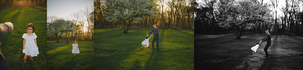 dad playing with daughter in beautiful sunshine